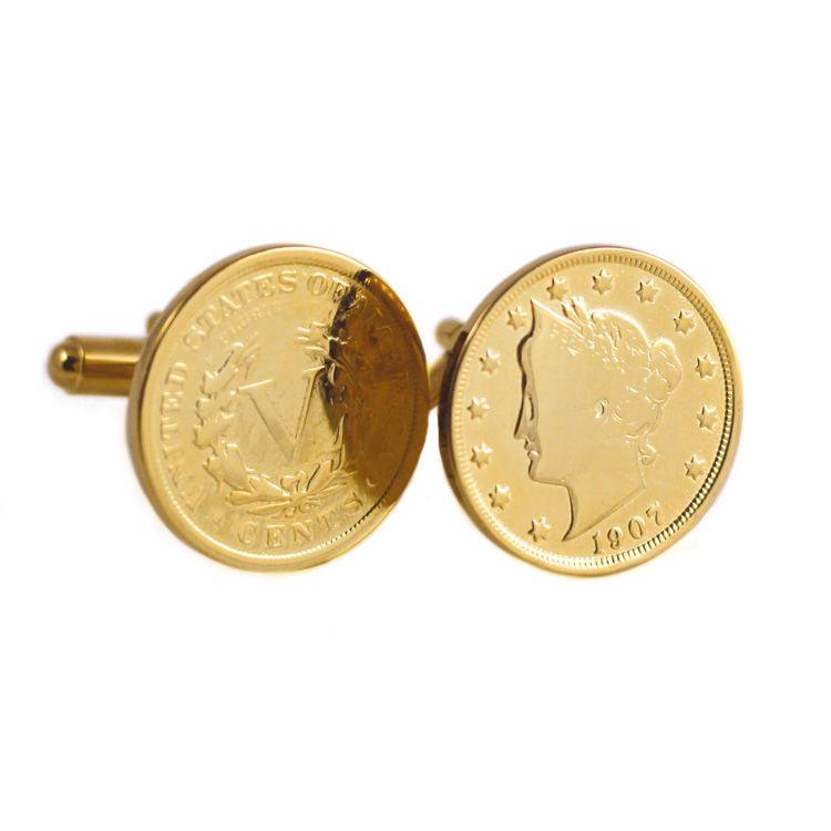 431-251 - Men's 24K Gold Embraced™ Liberty Nickel CuffLinks