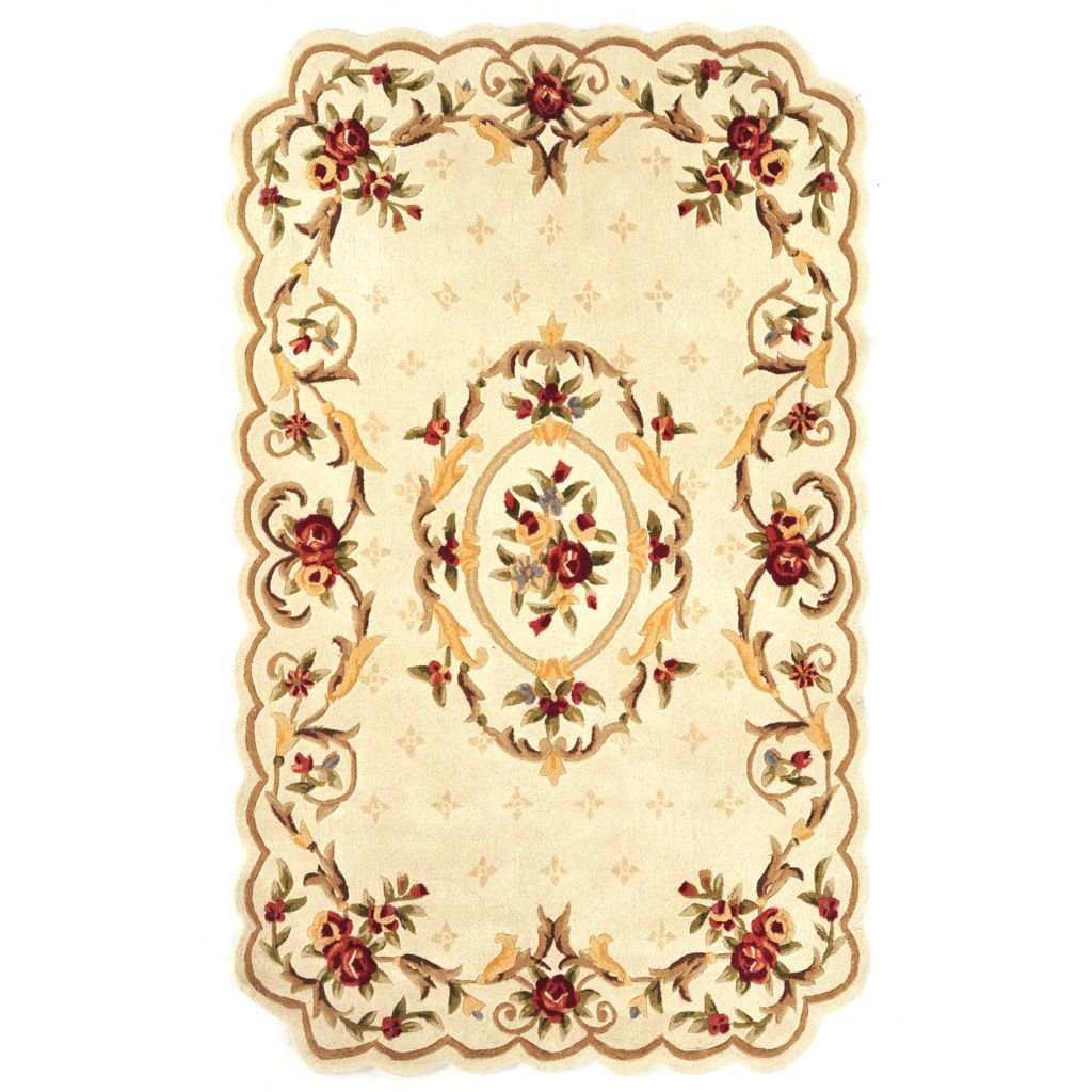 431-276 - Global Rug Gallery Hand-Tufted 100% Wool Floral Aubusson-Style Rug