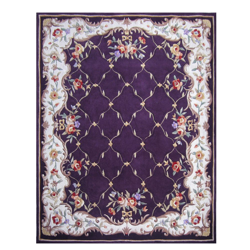 431-277 - Global Rug Gallery 5' x 8' or 8' x 10' Hand Tufted 100% Wool Lattice Rug