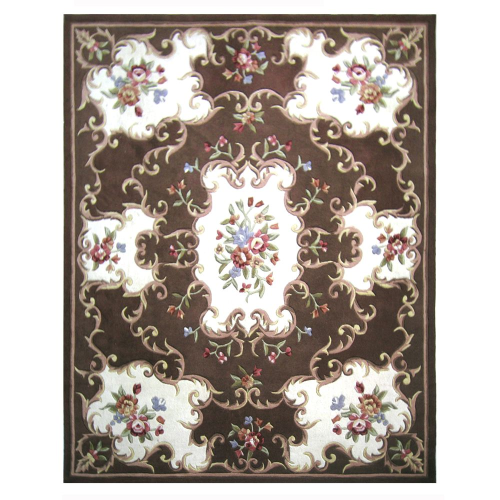 431-285 - Global Rug Gallery 5' x 8' or 8' x 10' Hand-Tufted 100% Wool Aubusson-Style Rug