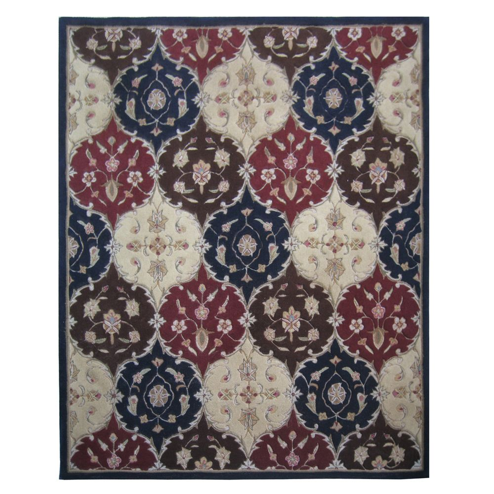 431-289 - Global Rug Gallery 5' x 8' or 8' x 10' Medallion Hand-Tufted 100% Wool Rug
