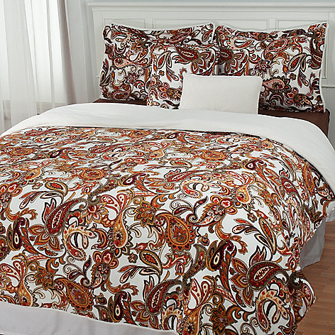 431-399 - Cozelle® Microplush Paisley Reversible Five-Piece Comforter Set