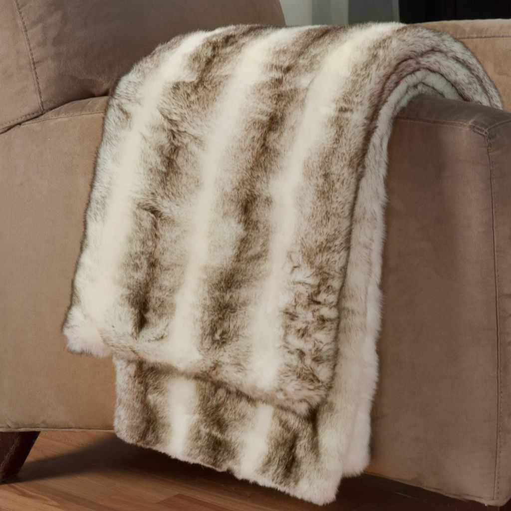 "431-415 - North Shore Linens™ 60"" x 50"" Faux Fur Throw"