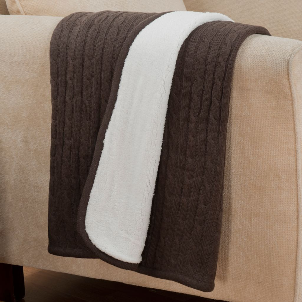"431-419 - North Shore Linens™ 60"" x 50"" Cable Knit & Faux Sherpa Reversible Throw"