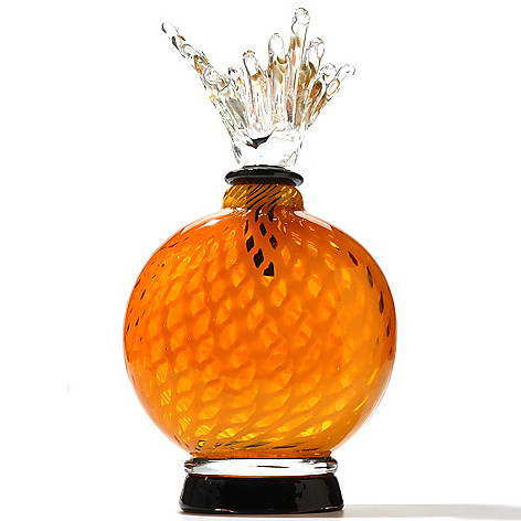 431-470 - Favrile Hand-Blown Art Glass Crackle Perfume Bottle Figurine