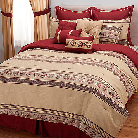 431-499 - North Shore Linens™ 12-Piece Stripe & Medallion Panel Bedding Ensemble