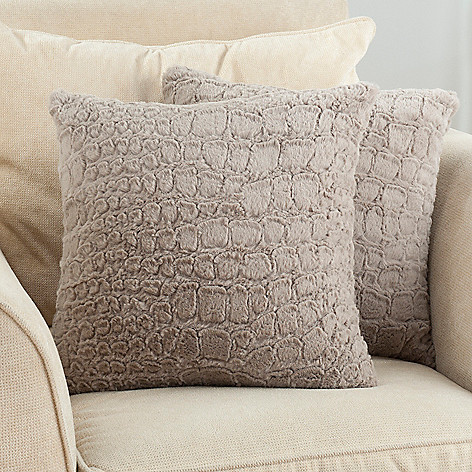 431-581 - North Shore Linens™ ''Allie'' Set of Two 18'' x 18'' Textured Faux Fur Decorative Pillows