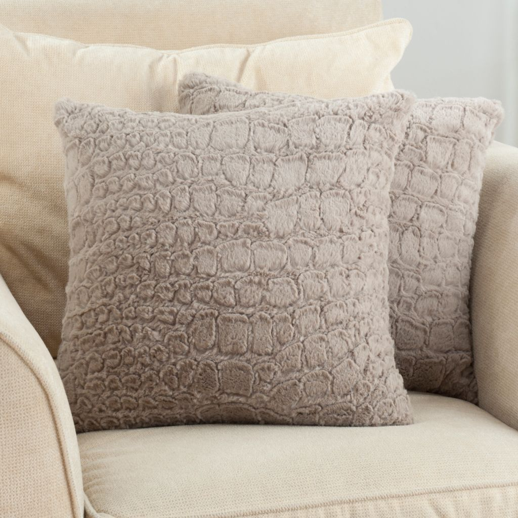 "431-581 - North Shore Linens™ ""Allie"" Set of Two 18"" x 18"" Textured Faux Fur Decorative Pillows"
