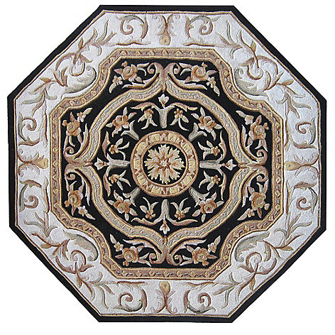 431-582 - Global Rug Gallery 2' x 8' or 6' x 6' Hand-Tufted 100% Wool & Artisan Silk Medallion Rug