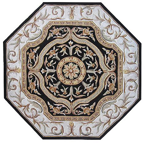 431-582 - Global Rug Gallery 2' x 8' or 6' x 6' Hand-Tufted 100% Wool & Artisan Silk Medallion Rug