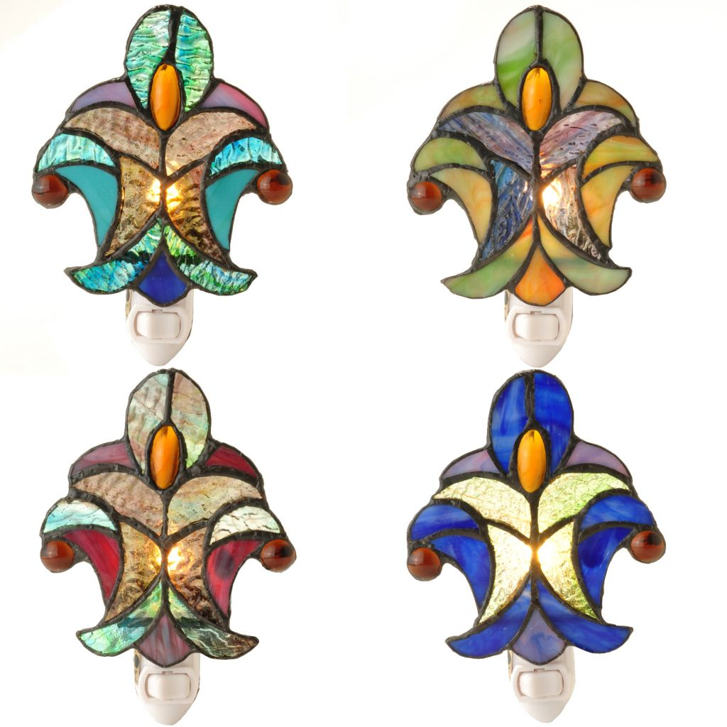 "431-628 - Tiffany-Style Set of Four 6"" Halston Stained Glass Nightlights"