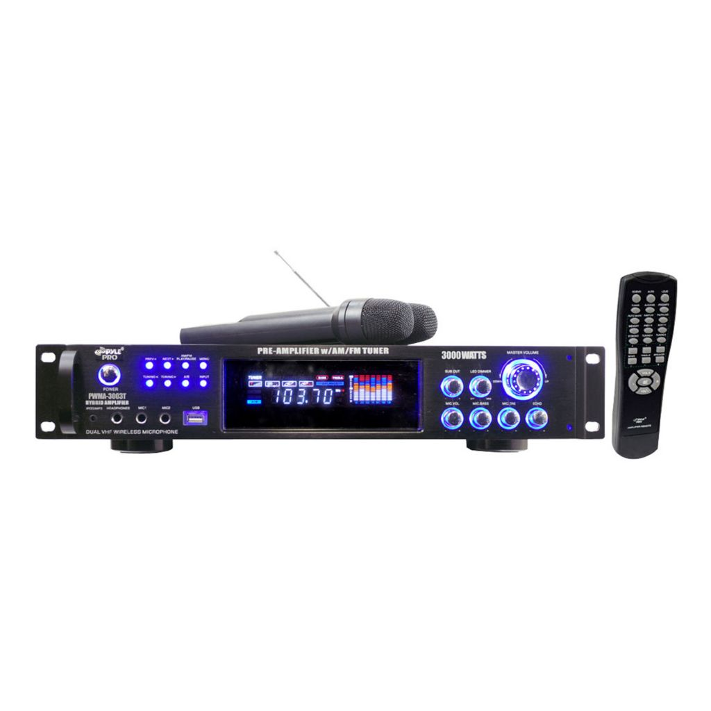 431-655 - Pyle 3000 Watts Hybrid Pre-Amplifier w/ AM-FM Tuner/USB/Dual Wireless Mic