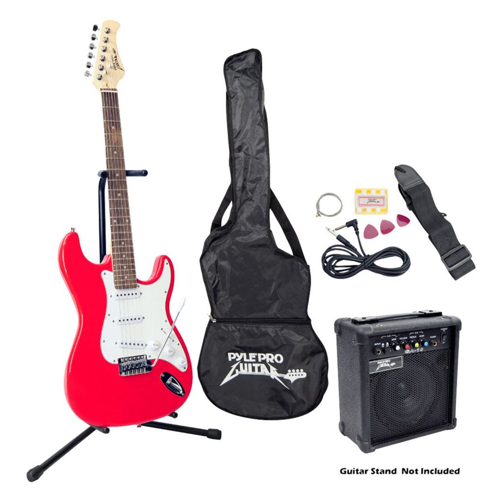 431-715 - Pyle Beginner Red Electric Guitar Package w/ Amplifier, Gig Bag and Strap