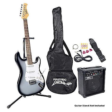 431-717 - Pyle Beginner Grey Electric Guitar Package w/ Amplifier, Gig Bag and Strap
