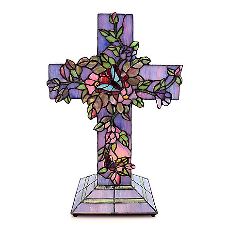 431-798 - Tiffany-Style 18'' Vines Blooming Stained Glass Cross Accent Lamp