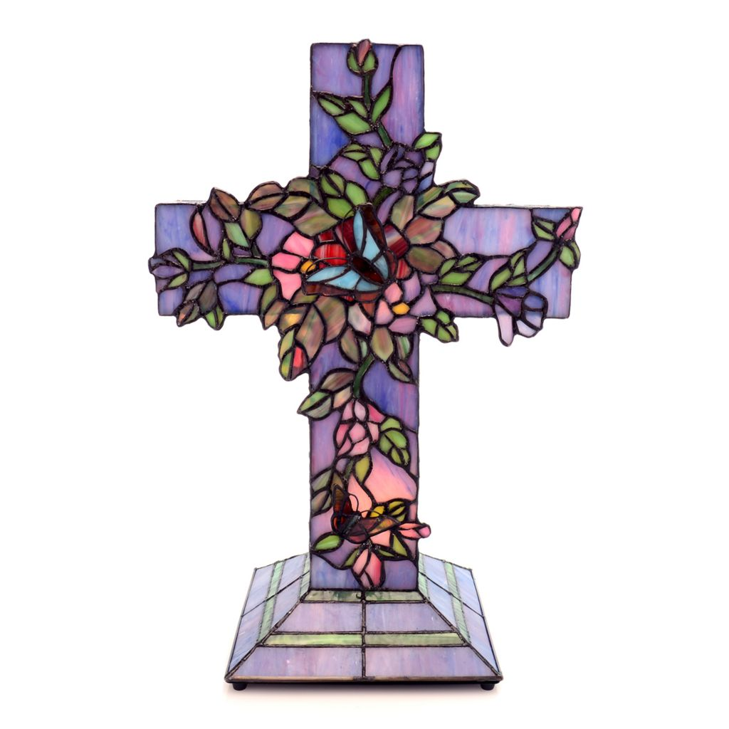 "431-798 - Tiffany-Style 18"" Vines Blooming Stained Glass Cross Accent Lamp"