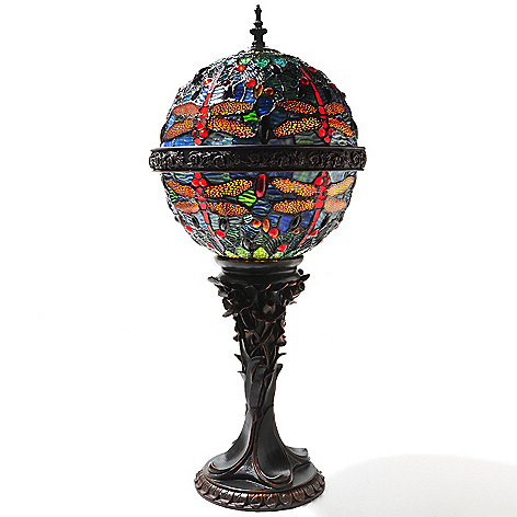 431-814 - Tiffany-Style 28'' Orb Dragonfly Stained Glass Table Lamp