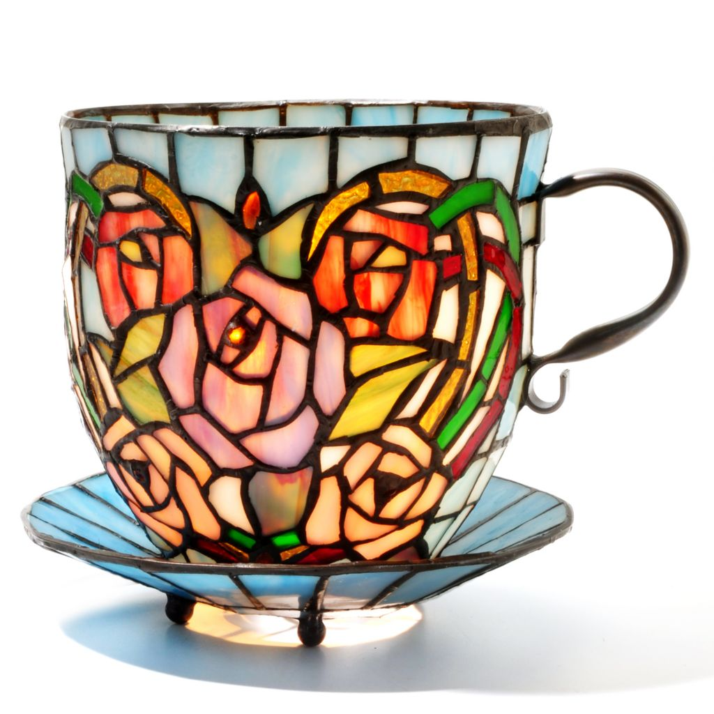 "431-820 - Tiffany-Style 6.25"" Rosalee Stained Glass Teacup Accent Lamp"