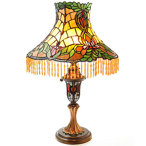 431-836 - Tiffany-Style 24.5'' Beaded Laurel Stained Glass Table Lamp