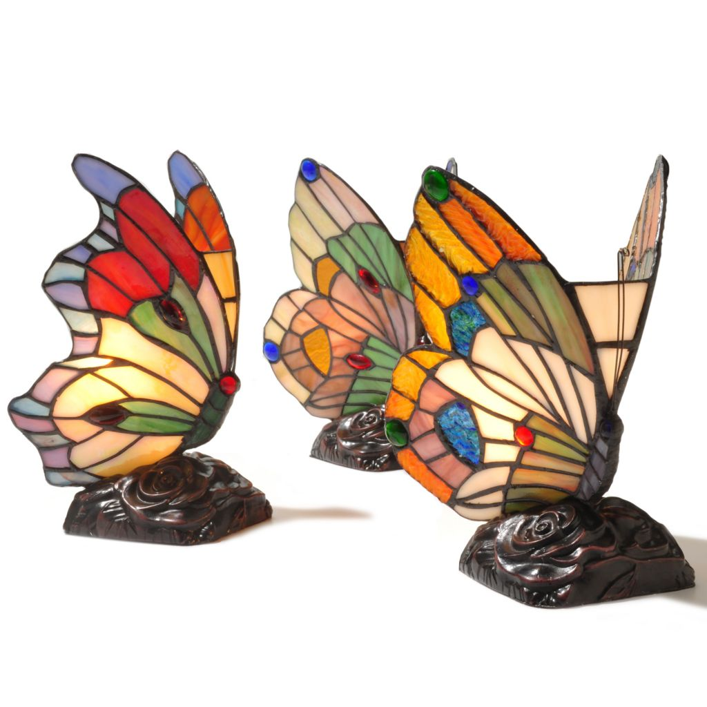 "431-841 - Tiffany-Style Set of Three 9.5"" Butterfly Stained Glass Accent Lamps"