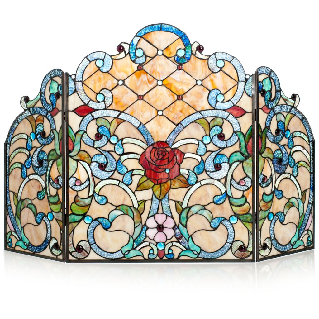 "431-911 - Tiffany-Style 44"" The Queen's Garden Stained Glass Fireplace Screen"