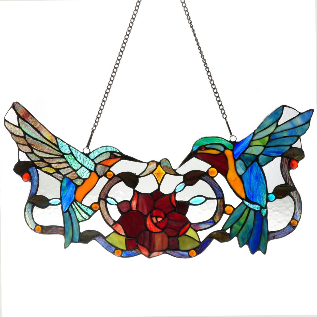 "431-915 - Tiffany-Style 24"" Hummingbird Delight Stained Glass Window Panel"