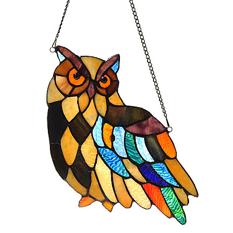431-916 - Tiffany-Style 14'' Henry's a Hoot Owl Stained Glass Window Panel