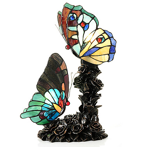 431-918 - Tiffany-Style 16.5'' Sweet Serenity Butterfly Stained Glass Table Lamp