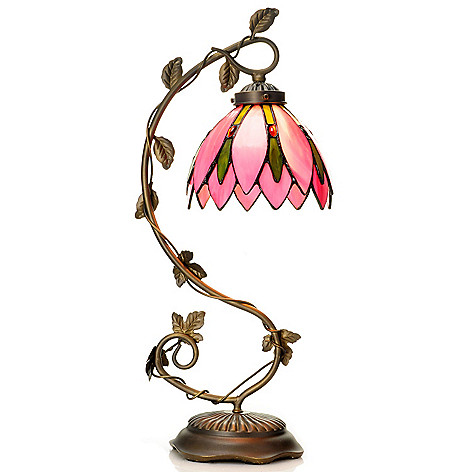 431-928 - Tiffany-Style 21.25'' Pretty In Pink Floral Stained Glass Table Lamp