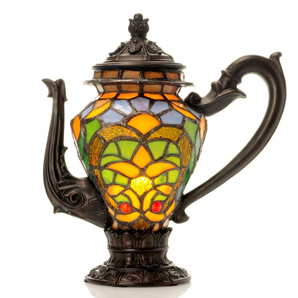 "431-936 - Tiffany-Style 10.25"" Tea Time Stained Glass Accent Lamp"