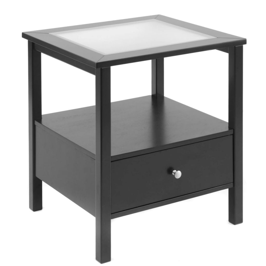 432-070 - Bay Shore Collection Glass Insert Top & Drawer End Table