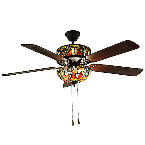 432-306 - Tiffany-Style 52'' Halston Double Lit Stained Glass Ceiling Fan