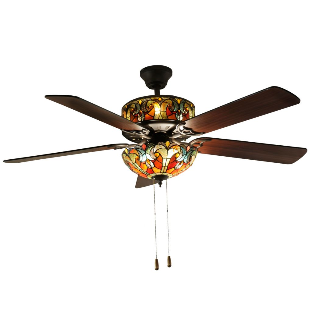 "432-306 - Tiffany-Style 52"" Halston Double Lit Stained Glass Ceiling Fan"