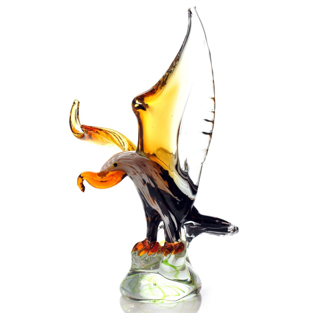 "432-383 - Favrile 13.75"" Hand-Blown Art Glass Eagle Sculpture"