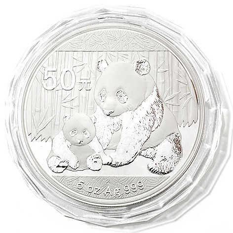 432-406 - 2012 5 oz Silver Proof BU China Panda 50 Yuan Coin w/ Display Box