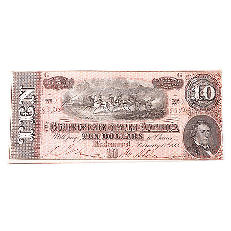432-517 - 1864 Circulated $10 Confederate Horse Carriage Pulling Cannon Note