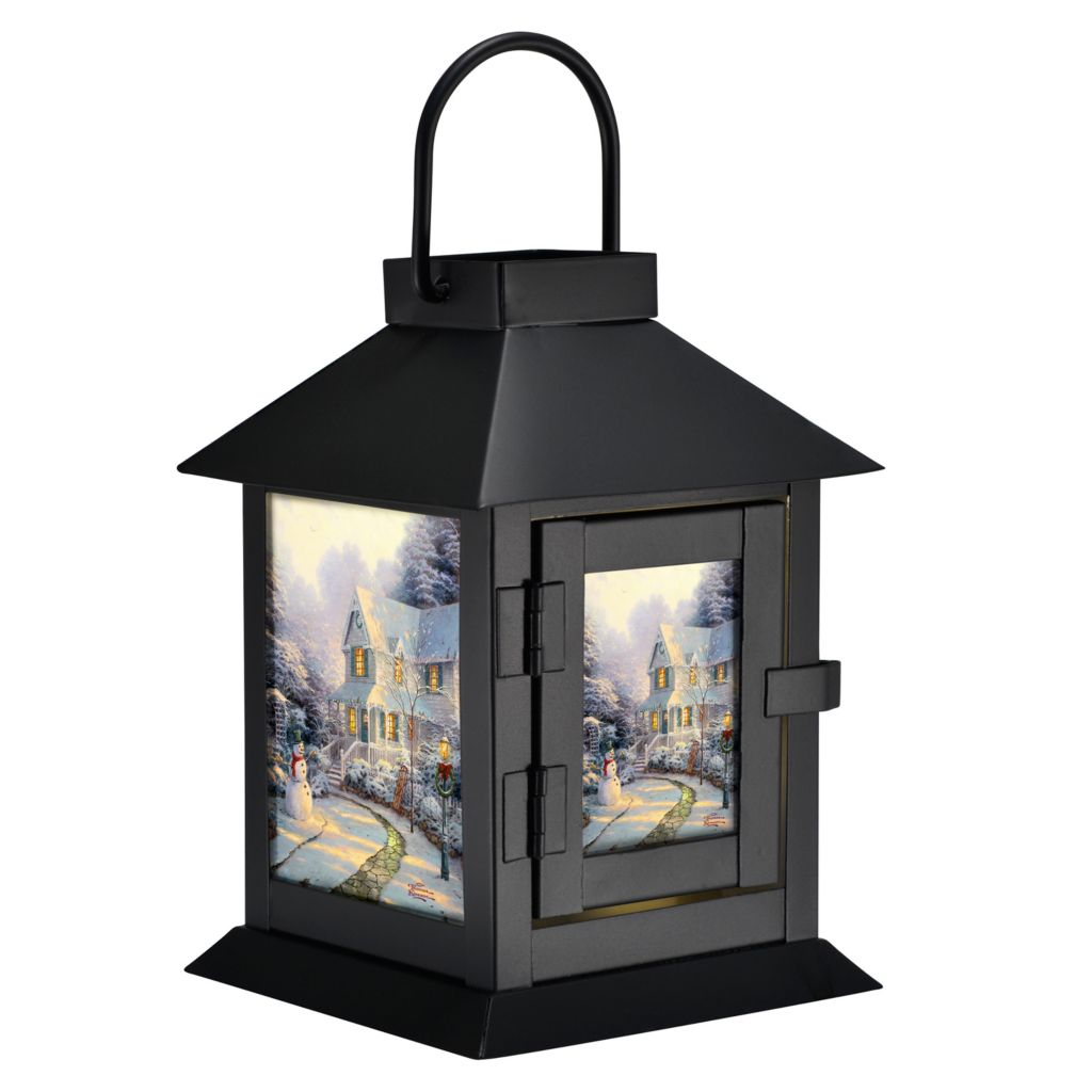 "432-522 - Thomas Kinkade ""Night Before Christmas"" Black Coach LED Lantern"