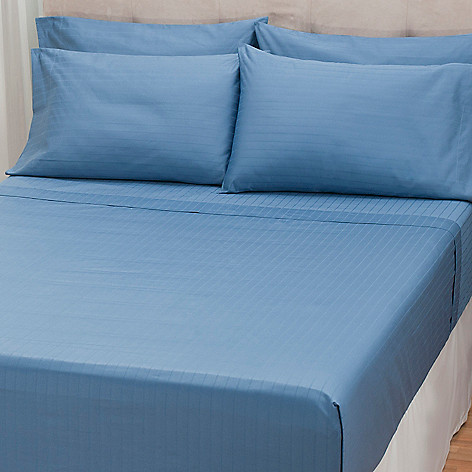 432-556 - North Shore Linens™ 1000TC Egyptian Cotton SureSoft™ Striped Six-Piece Sheet Set