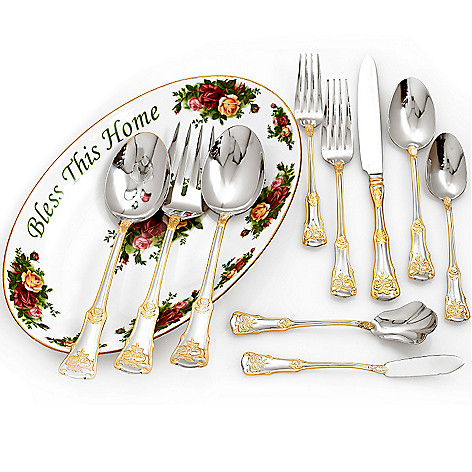 432-564 - Royal Albert® Old Country Roses 65-Piece Flatware Set w/ 11.75'' Porcelain Platter