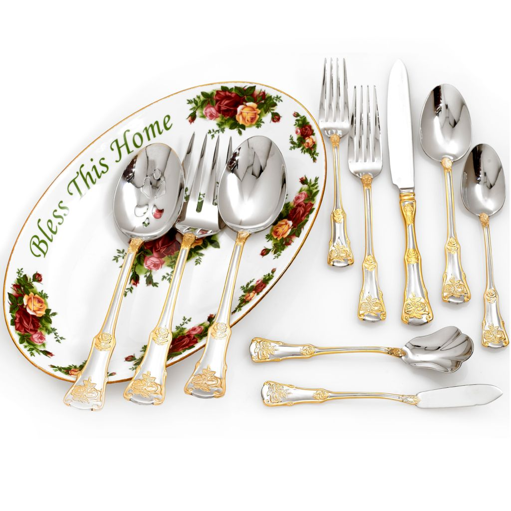 "432-564 - Royal Albert® Old Country Roses 65-Piece Flatware Set w/ 11.75"" Porcelain Platter"