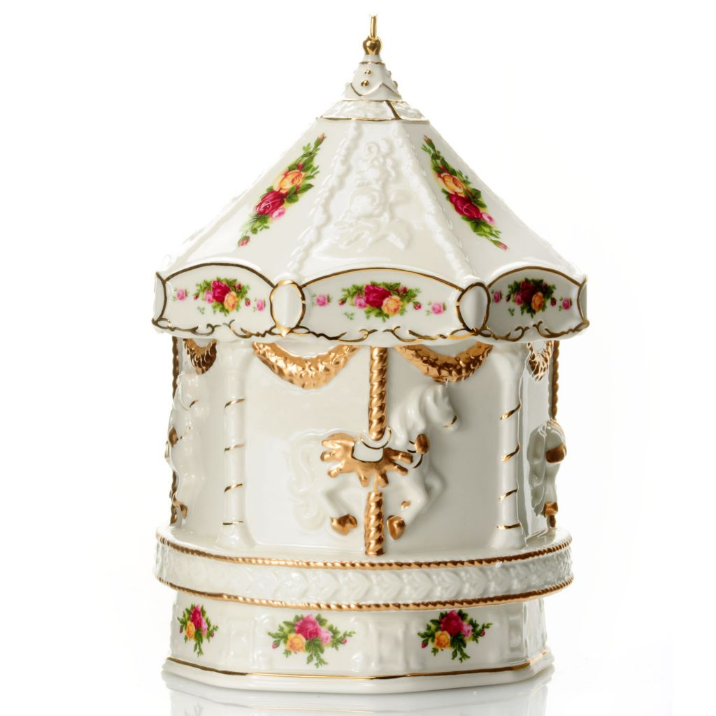 "432-817 - Royal Albert® Old Country Roses Porcelain 8"" Musical Carousel"