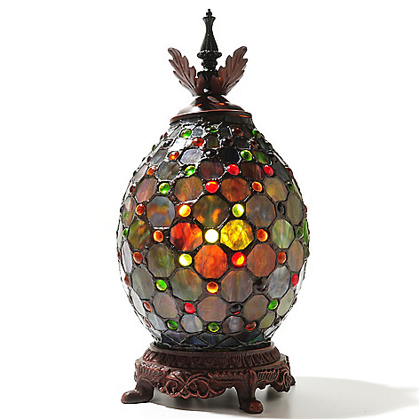 432-976 - Tiffany-Style 15'' Pineapple Stained Glass Accent Lamp