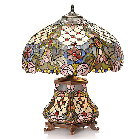 432-979 - Tiffany-Style 22'' Heatherton Floral Double Lit Stained Glass Table Lamp