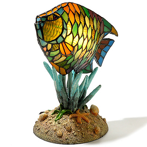 432-980 - Tiffany-Style 12'' Sonny the Fish Stained Glass Accent Lamp