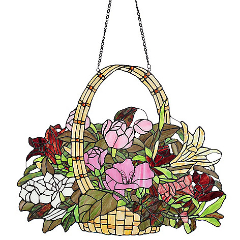 432-995 - Tiffany-Style 19.5'' Basket of Spring Stained Glass Window Panel
