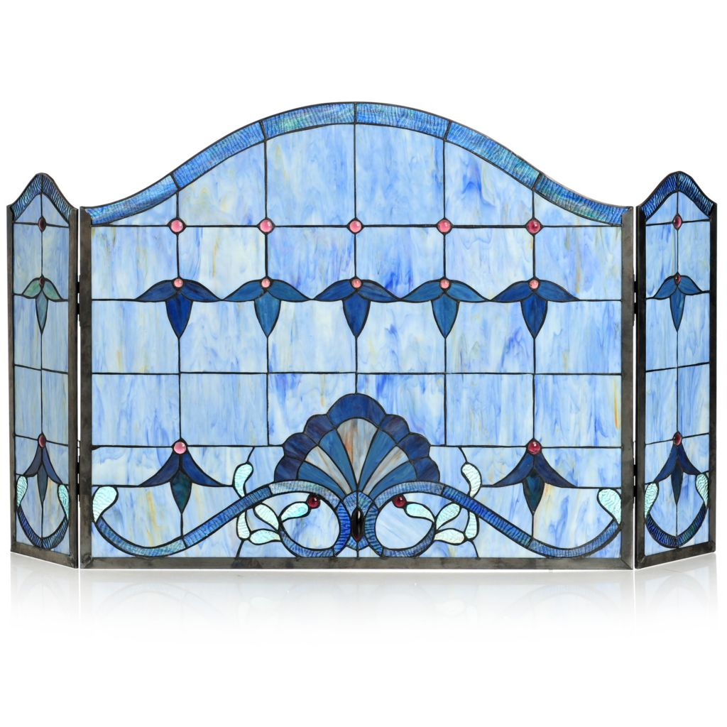 432-996 - Tiffany-Style Allistar Stained Glass Fireplace Screen