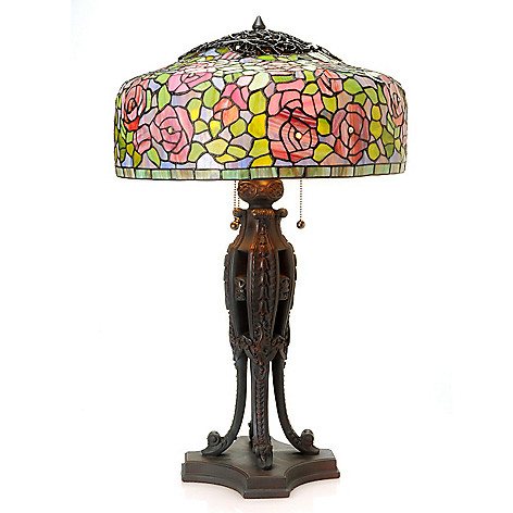 433-010 - Tiffany-Style 28.5'' Rose Bush Stained Glass Table Lamp