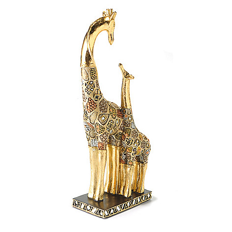 433-011 - Style at Home with Margie 15.25'' Hand-Painted Golden Maasai Giraffe Figurine