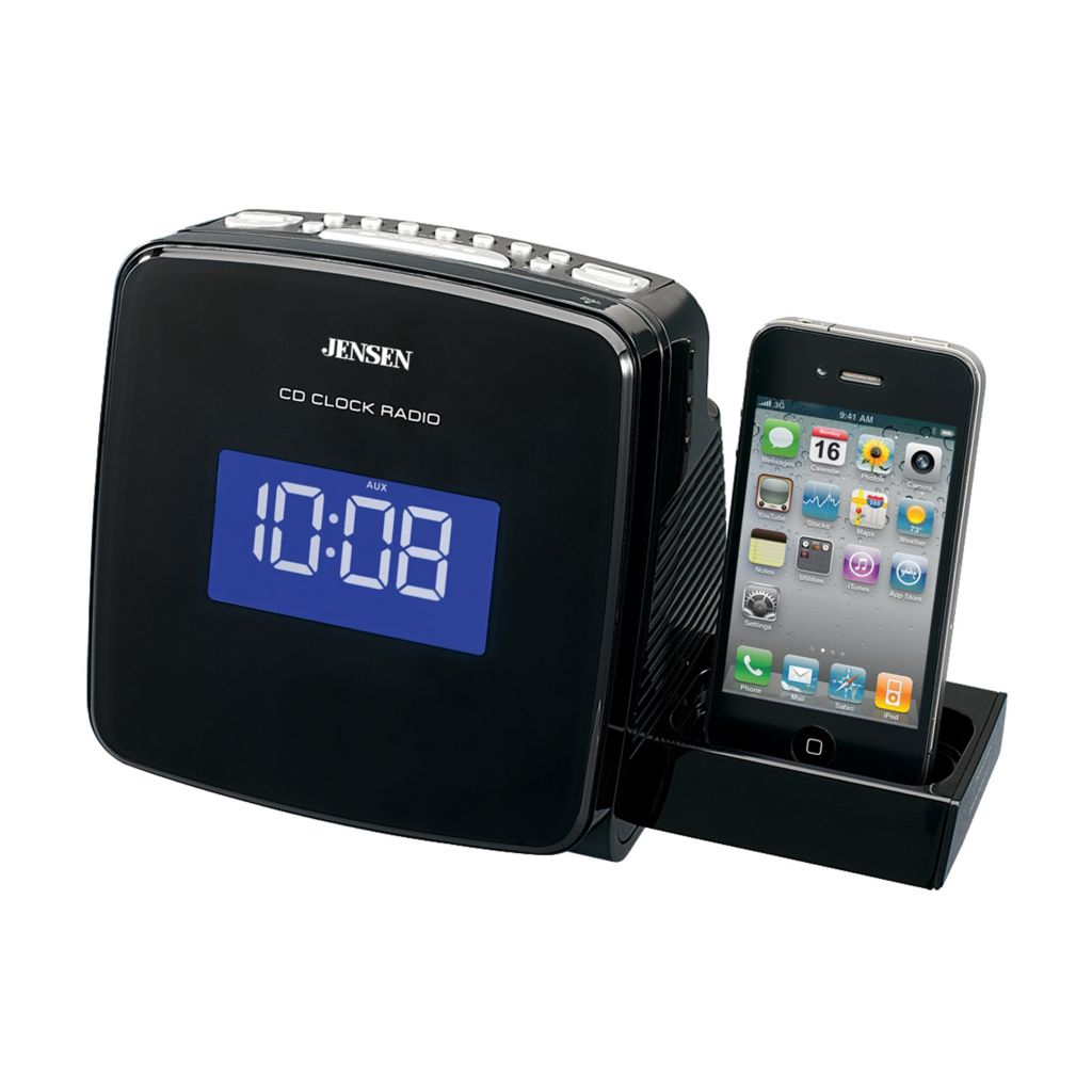 433-836 - Jensen iPod & iPhone Docking Digital CD Clock Radio