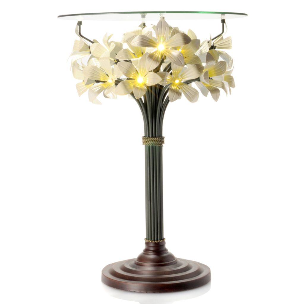 "433-905 - Style at Home with Margie 24"" Blooming Lights Floral LED-Lit Glass Top Table"